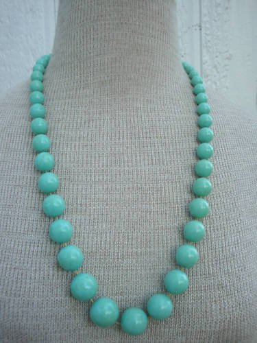 Vintage Green Chunky Beads Necklace 1960s