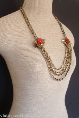 Vintage Red Cabochon Chunky Chain Statement Necklace