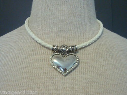 Sexy Vintage Silver Heart White Braided  Necklace