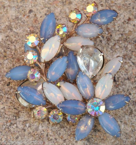 Vintage Blue Huge  Flower Rhinestone Navette Pin Brooch