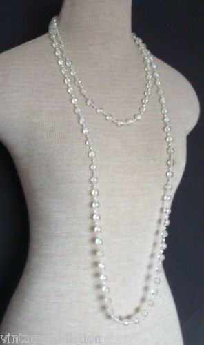 "Vintage White Lucite Confetti Bead 68"" Long Necklace"