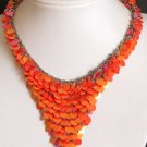 Vintage Orange Mesh Triangle Choker/Necklace 1980s