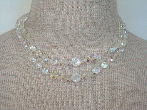 Vintage 2 Strands Aurora Borealis Glass Necklace