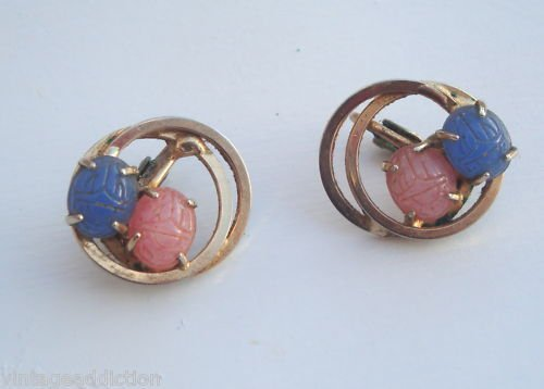 Vintage Pin & Blue Scarab Antique Earrings