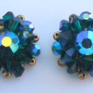 Vintage Green Aurora Borealis Crystal Glass  Earrings