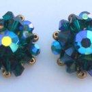 Vintage Green Aurora Borealis Crystal Glass  Earrings