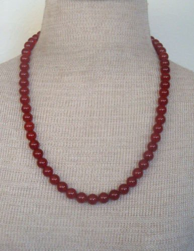 Vibrant & Bold Vintage Red Maroon Glass Bead Necklace