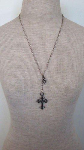 Unusual Vintage Skull & Cross Lariat Necklace