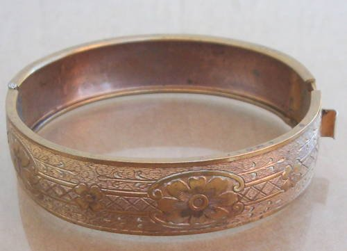 Vintage Victorian Engraved Hinged Bangle Bracelet