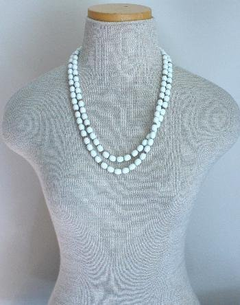 Vintage Lisner Multi Strands White Bead Necklace