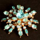 Vintage Star burst Blue Rhinestone Pin/Brooch 1950s
