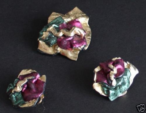 Vintage Set Of Earrings And Pin Brooch Set Unusual!