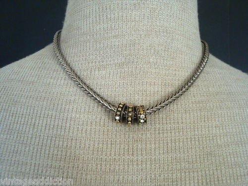 Chic Vintage Silver Rhinestone Chunky Chain Necklace