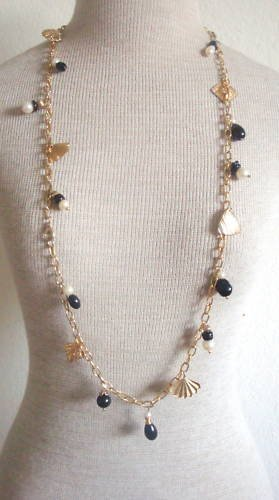 """Vintage Antique Charms Long Strand Chain Necklace 36"""""""
