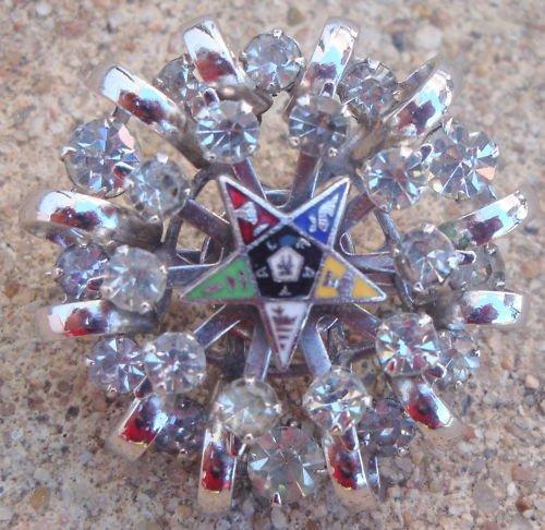 Vintage Chrome Star Rhinestone Pin / Brooch