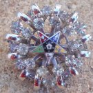 Vintage Chrome Star Rhinestone Pin / Brooch