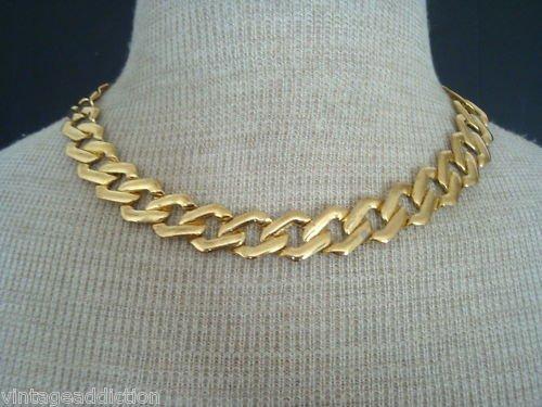 Vintage Wide Gold Link Choker Necklace