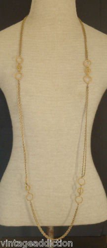"""Chic Vintage Gold Chain 54""""Long Double Strands Necklace"""