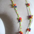 Vintage Fruit Salad Colorful Plastic Long Necklace 1960
