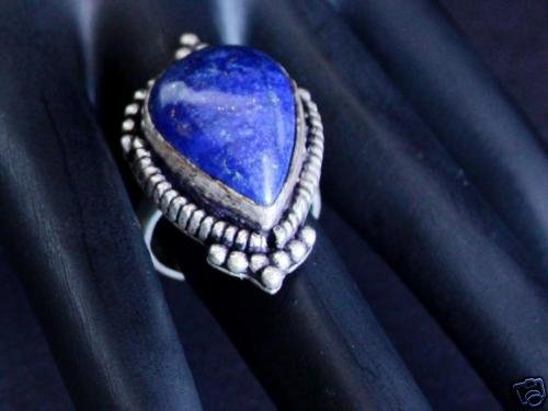 Vintage Art Deco Sterling Lapis Ring Size 6 Chunky!