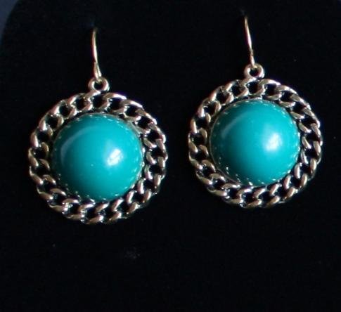 Vintage Dark Green Cabochons Dangle Earrings