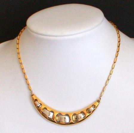 Vintage CrownTrifari Crescent Dual Tone Choker Necklace