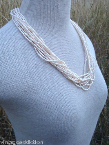 Vintage Cream Faux Pearl Multi Strands Necklace