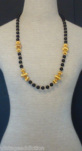 Chic Vintage Black Glass Chunky Bead DAUPLAISE Necklace