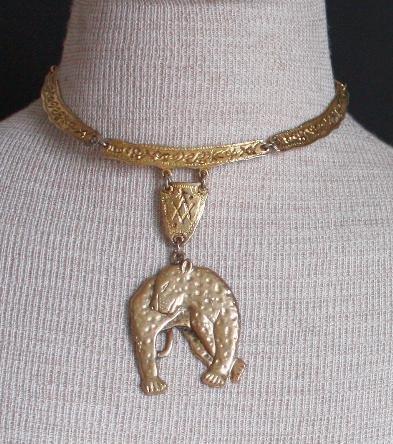 Vintage Bold Egyptian Tiger Choker Necklace Chunky
