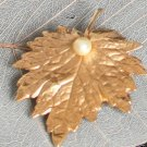 Vintage Signed Napier Golden Leaf Pin/Brooch