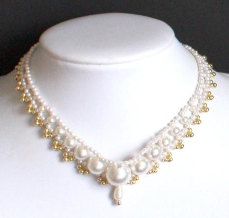Vintage White Pearl Choker Necklace Japan