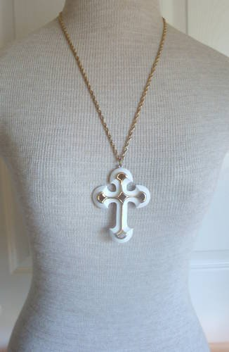 Vintage  Cream Enamel Cross Pendant Necklace