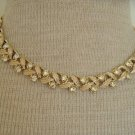 Vintage Coro  White Rhinestone Choker Necklace