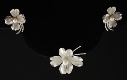 Vintage Argo & Lehne Pearl Sterling Brooch Earrings Set