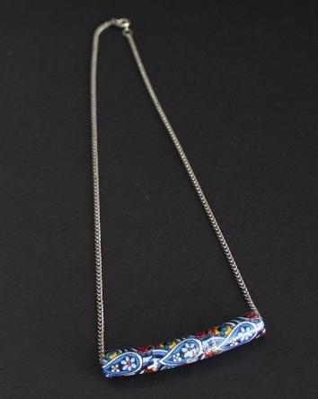 Vintage Art Deco Era Hand Painted Necklace Pendant