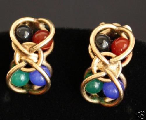 Vintage Signed BB Gold Filled  Stone Clip On Earrings