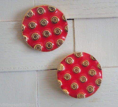 Vintage Unique Red Dots Cute Pierced Earrings