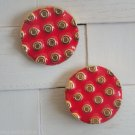 Vintage Unique Red Dots Cute Pierced Earrings