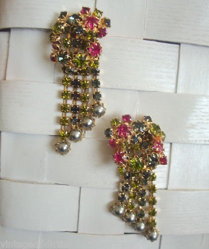 Dressy Green Rhinestone Long Dangle Pierced Earrings