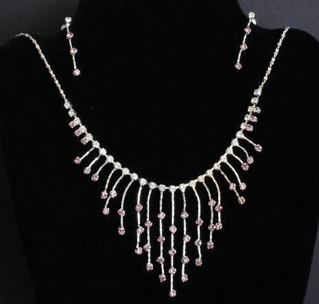 Purple Rhinestone Necklace Earrings Demi Set Dressy
