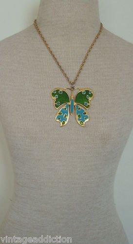 Unique Vintage Green  Butterfly Pendant Chain Necklace