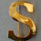 Vintage Anne Klein Gold  Initial S /Dollar Pin Brooch