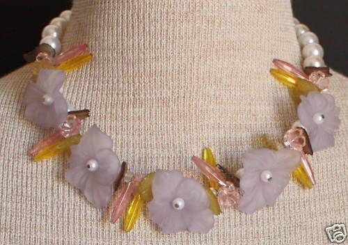 Vintage Chunky Pink Glass Flower Choker Necklace