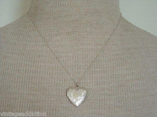 Cute Vintage Silver Tone Tiny Heart Locket