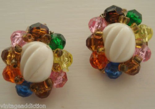Vintage West Germany Colorful Clip On Earrings