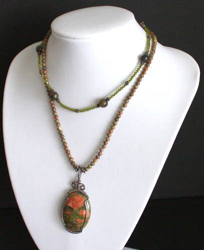 Chunky Green Crystal Unakite Stone Necklace on 925