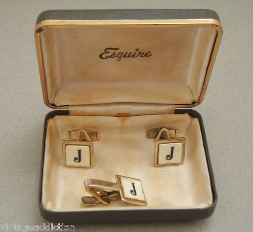 Vintage Esquire Mother Of Pearl Cuff Links Tie Clip