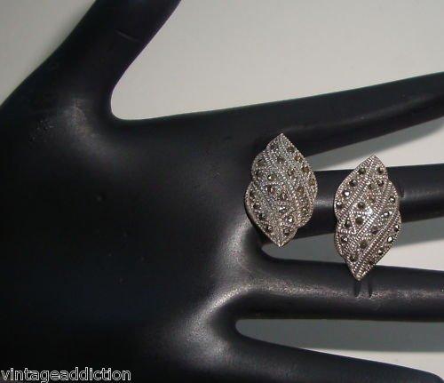 Vintage Sterling Silver Marcasite Leaf Pierced Earrings