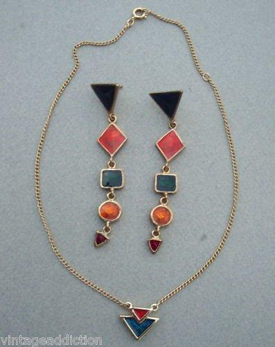 Vintage Sarah Cov Vibrant Long Earrings & Necklace Set