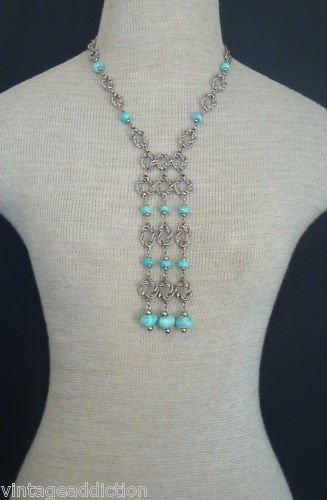 Cute Vintage Blue Glass Lariat Statement Necklace